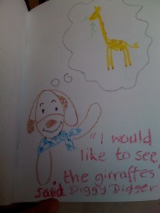 diggy digger wants to see the giraffes