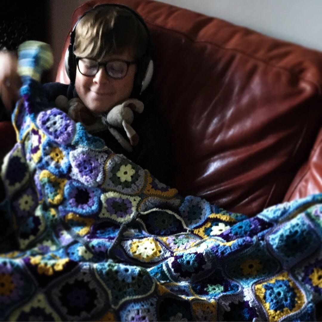 Joel with blanket